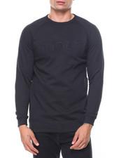Pullover Sweatshirts - Raglan Fleece Pullover Embossed Crew