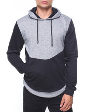 Hoodies - Rounded Bottom Zipper Marled Hoodie