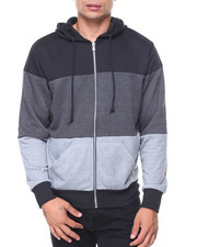 Outerwear - French Terry Full Zip Color Block Hoodie