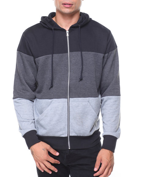 10c4a79ed3634 Buy French Terry Full Zip Color Block Hoodie Men's Outerwear from ...