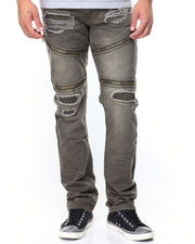 Jeans & Pants - Zip Trim Slim Straight Moto  Ripped Jeans