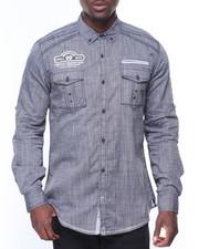 Men - L/S Cotton Woven Solid Shirts