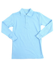 DRJ School Uniforms - L/S Boys Polo Pique Shirts (8-14)