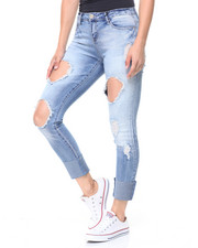 Jeans - Destructed High Cuff Skinny Jean