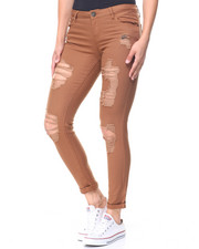 Bottoms - Destructed Twill Roll Cuff Skinny Pant