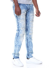 Jeans & Pants - Light Blue Wash Paint Splatter Ripped Jeans