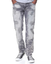 Jeans & Pants - Grey Wash Paint Splattered Ripped Jeans
