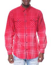 Men - L/S Cotton Woven Plaid Ombre Shirts