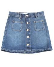 Girls - High Rise  Button Front Skirt (7-16)