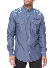 Button-downs - L/S Chambray Shoulder Pattern Cotton Woven