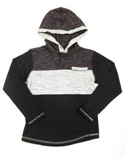 Cyber Monday Deals - Color Blocked Textured Pullover L/S Hooded Tee (8-20)