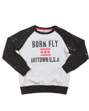 Boys - Crew Neck Raglan Loopback Sweater (8-20)