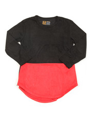 Tops - L/S Color Block Scalloped Tee (8-20)