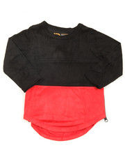 T-Shirts - L/S Color Blocked Scalloped Tee (2T-4T)