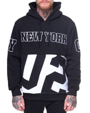 Men - New York Patched Fleece Pullover Hoodie