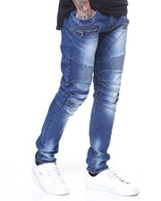 Men - Pleated Knee Denim