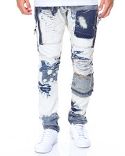 Heritage America - Bleach Wash Jeans W/ Patches & Zippers