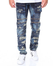 Straight - Distressed Cargo Pocket Jean w/ Studs