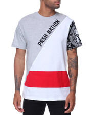 Men - Asymetric Cut & Sew 3 Color Mix Tee