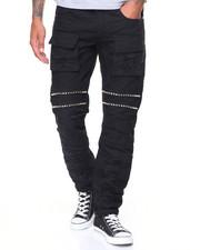Straight - Distressed Cargo Pocket Jean w/ Studs