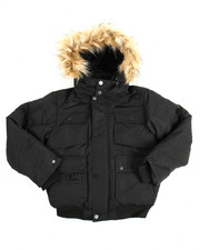 Boys - Heavy Coated Memory Jacket with Faux Fur Trim (8-20)
