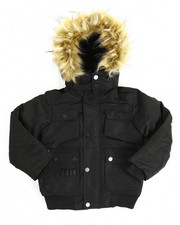 Boys - Heavy Coated Memory Jacket with Faux Fur Trim (4-7)
