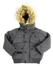 Heavy Coats - Heavy Coated Memory Jacket with Faux Fur Trim (4-7)