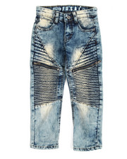 Boys - Pleated Zip Trim Jeans (4-7)
