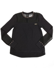 Tops - Studded Peekaboo Top Chiffon (7-16)