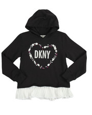 Girls - Pleated Chiffon French Terry Hoodie (7-16)