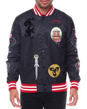 The Classic Bomber Jacket - Katana Bomber Embroidered Sleeve Knit Collar Jacket