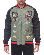 The Classic Bomber Jacket - Wolves Bomber Two Tone Jacket Embroidered Sleeves