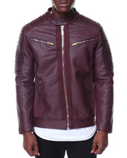 The Classic Bomber Jacket - Pu Bomber Moto Sleeves