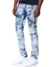 Men - Graffiti Blue Premium Wash Motto Jeans