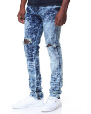 Men - Blow Out Knee Zip Trim Jeans
