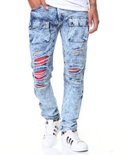 Jeans & Pants - Red Detail Acid Wash Cargo Jean