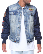 Men - Denim Jacket W Patches Nylon Sleeve
