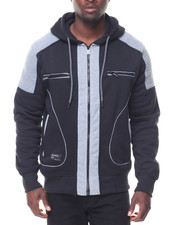 Men - Contrast Moto/Zipper Detail Fleece Hoodie