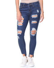 Jeans - Destructed Hi-Low Hem Jeans