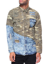 Buyers Picks - Camo/ Denim L/S Woven Shirt
