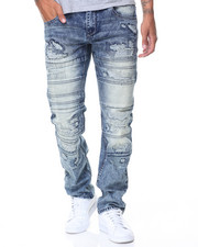 Men - Waxed Motto Pleats/Patched Jeans