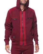 Hoodies - Contrast Moto/Zipper Detail Fleece Hoodie