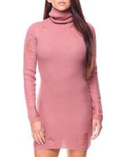 Women - Distressed L/S Turtleneck Mini Dress