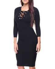 Almost Famous - Double Vneck Front Lace-up Rib Sweater Dress