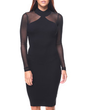 Almost Famous - Ribbed Mock Neck Mesh Insert Dress
