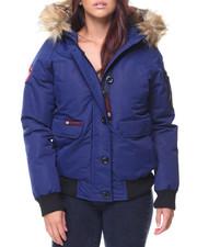 Women - Faux Fur Trim Hood Bomber Jacket