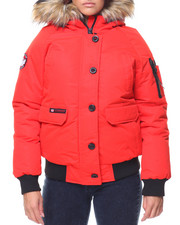 Canada Weather Gear - Faux Fur Trim Hood Bomber Jacket