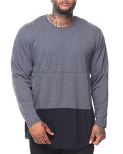 Men - L/S Rounded Bottom Color Block Tee (B&T)