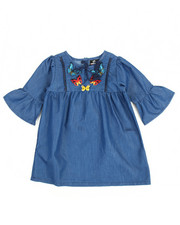 Sizes 2T-4T - Toddler - Chambray Butterfly Embroidered Dress (2T-4T)
