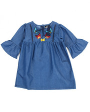 Dollhouse - Chambray Butterfly Embroidered Dress (4-6X)